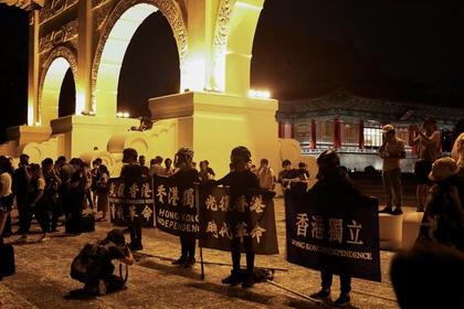 Protesta contra el régimen continental chino en la Liberty Square de Taipei, la capital taiwanesa. Allí hay una enorme preocupación por una posible invasión militar. REUTERS/Ann Wang